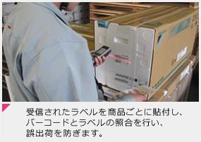 受信されたラベルを商品ごとに貼付し、バーコードとラベルの照合を行い、誤出荷を防ぎます。